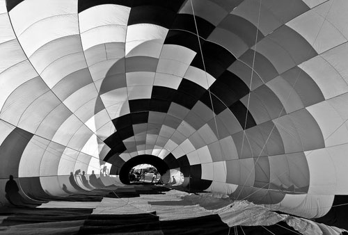 black and white What inside Hot Air Baloon