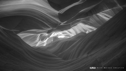 black and white Antelope canyon sunrise