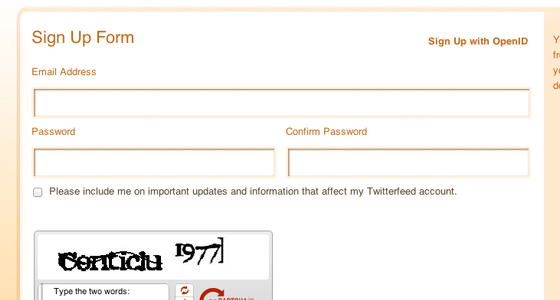 Signup for Twitterfeed