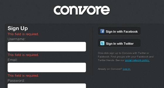 Signup for Convore