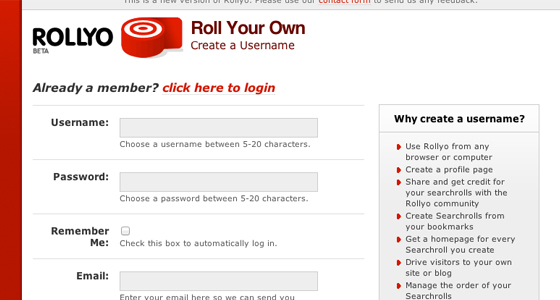 Signup for Rollyo