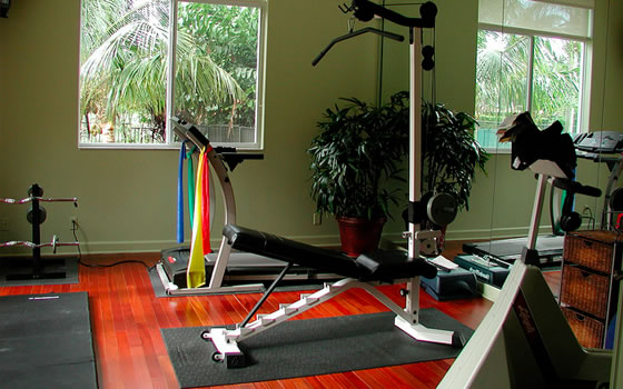 home studio with gym equipment