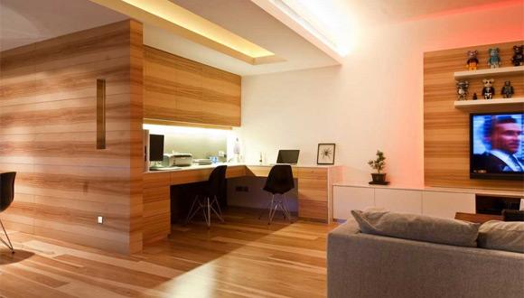 Minimalist Wood Home Office Design