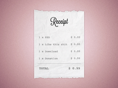 paper bill receipt PSD