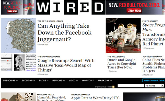 Wired tech magazine web design layout