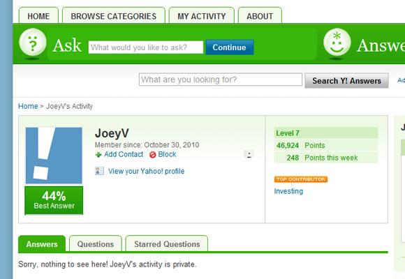 Yahoo! Answers user profile