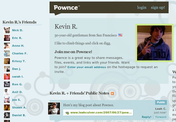 Kevin Rose profile on Pownce