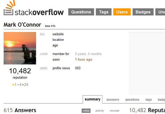 Stack Overflow Stackexchange user profiles