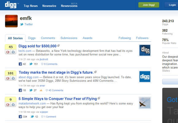 Digg v4 user profiles redesign