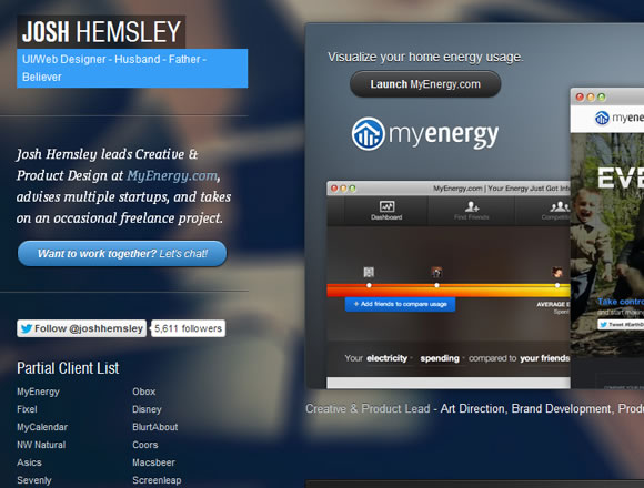Josh Hemsley freelancer website layout