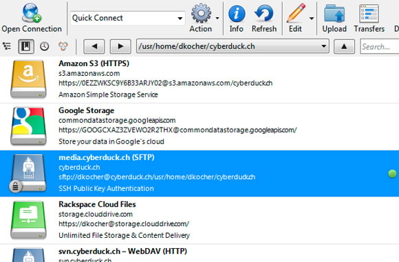 Cyberduck FTP client software web development