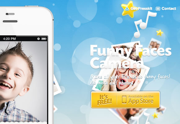 iphone app website funny faces design
