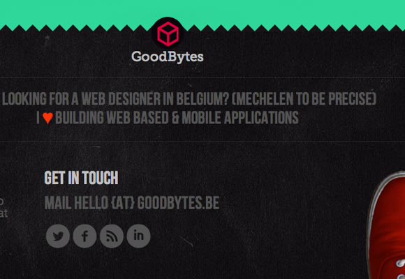 dark website portfolio theme footer layout interface