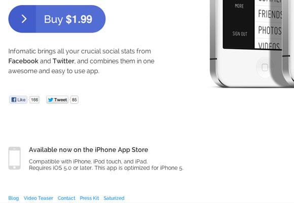 Infomatic app iphone website layout singlepage