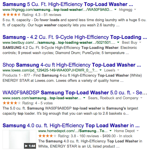 samsung washer search results