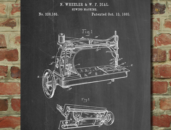 sewing machine patent art print design