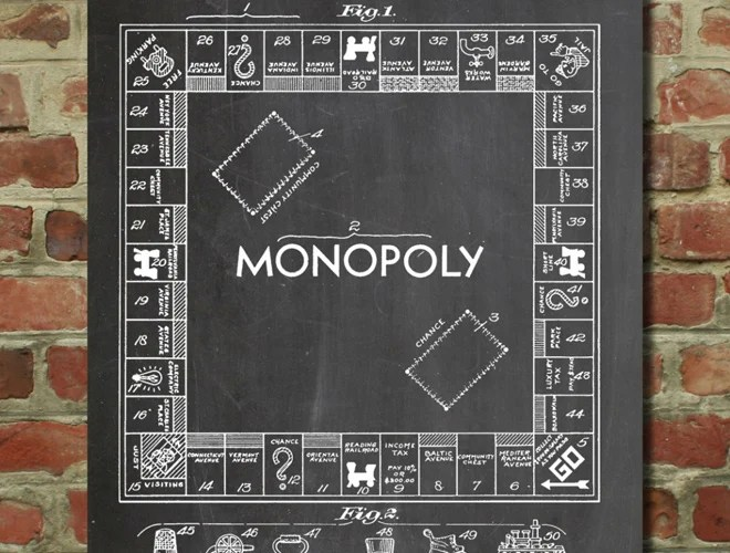 monopoly game board artwork patent poster