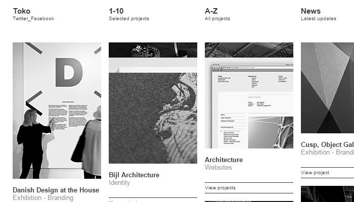 toko accordion portfolio website layout