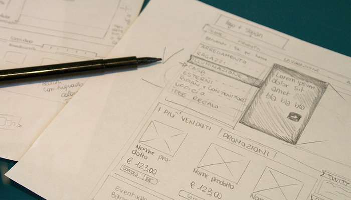 handdrawn sketch wireframing paper