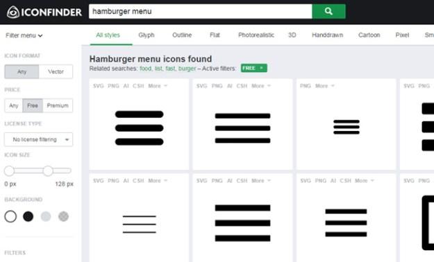 hamburger menu icon search iconfinder