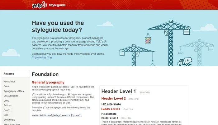 yelp website style guide design