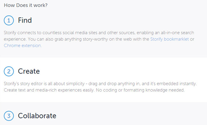 storify startup homepage responsive design