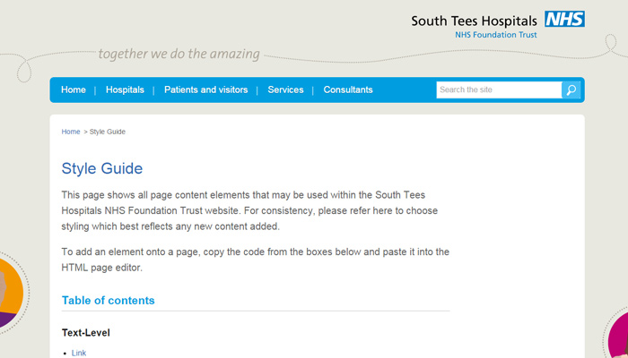 south tees hospital style guide website