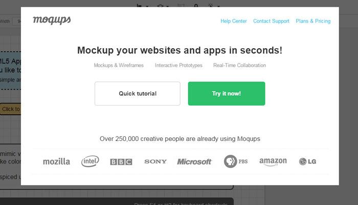 moqups modal window popup