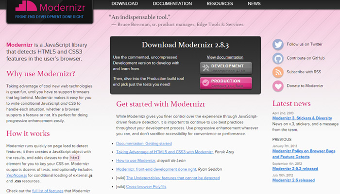 modernizr homepage layout open source