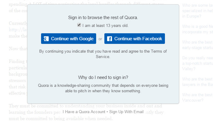 quora modal window forced signup