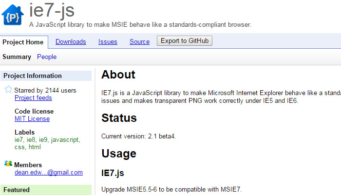 ie7 js javascript support library
