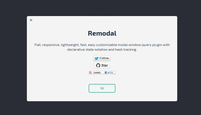 remodal window popup plugin