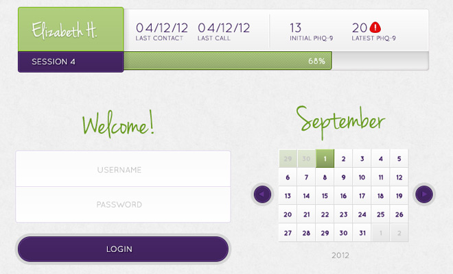flat app management ui design