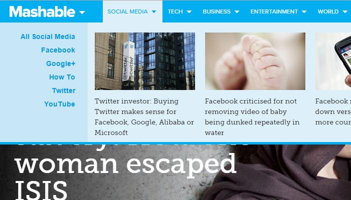 mashable layout meganav dropdown