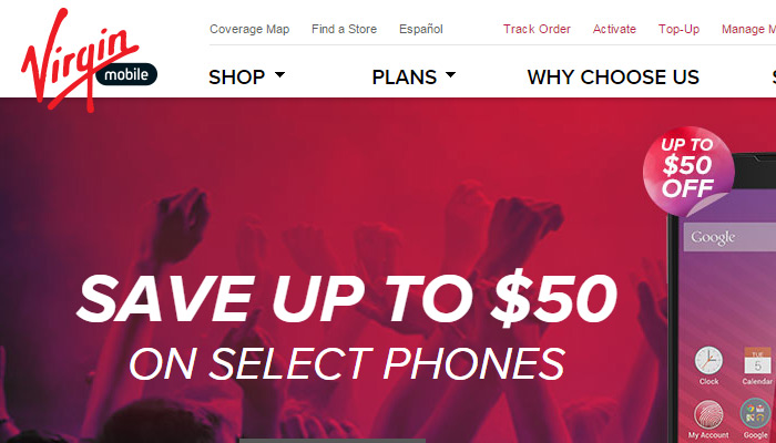 Virgin Mobile website layout