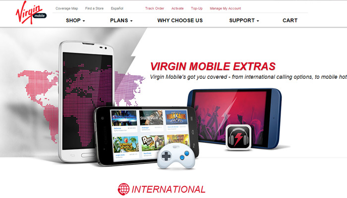 virgin mobile extras screen