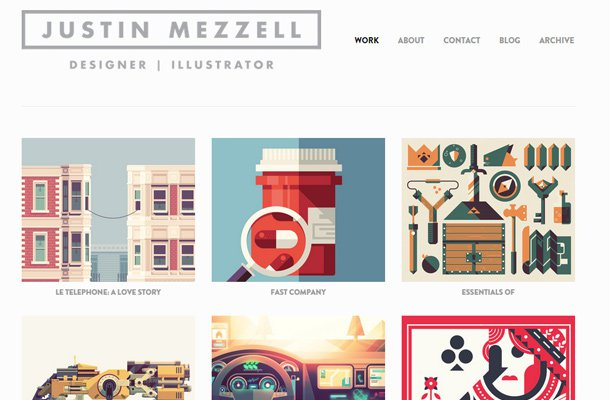 justin mezzell designer illustrator simple website