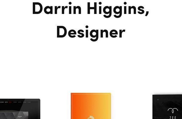 darrin higgins website designer personal portfolio large typography