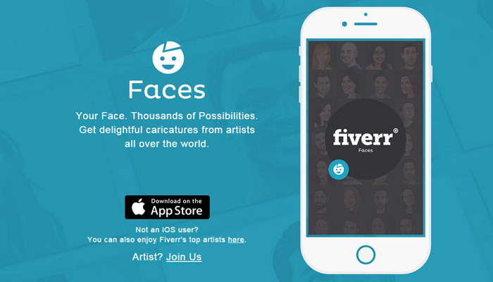 fiverr faces iphone app