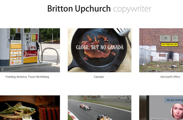 britton upchurch website minimalist copywriter