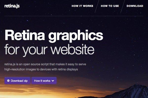 retina.js library open source website layout screenshot