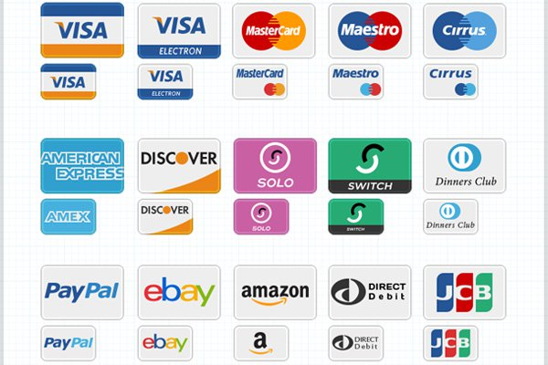 credit cards digital payment methods icons