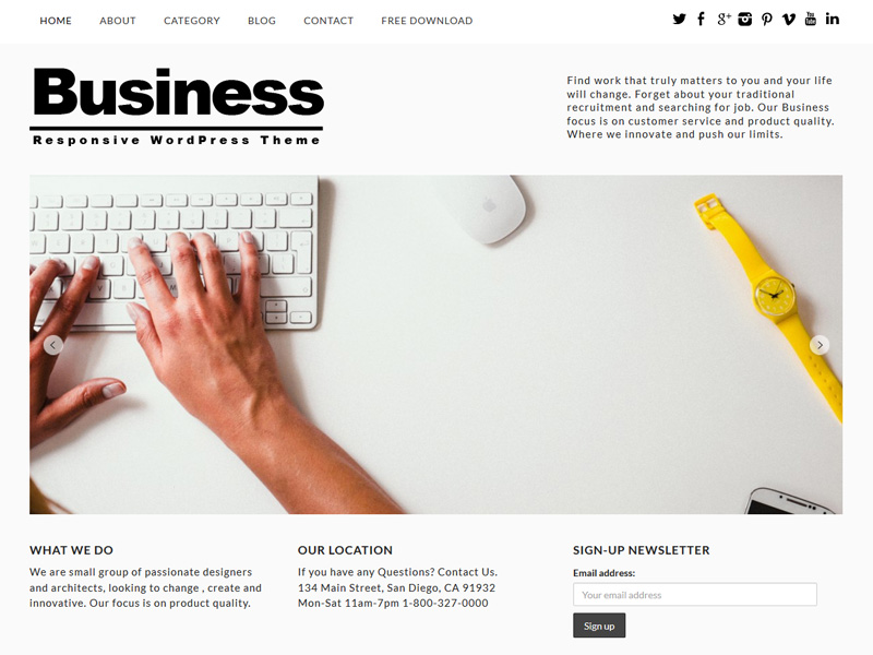 free wordpress themes for business