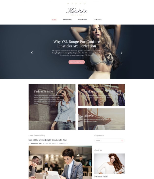 Kustrix blogging WordPress theme