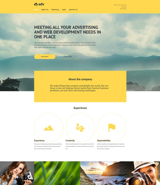 adv blogging WordPress theme