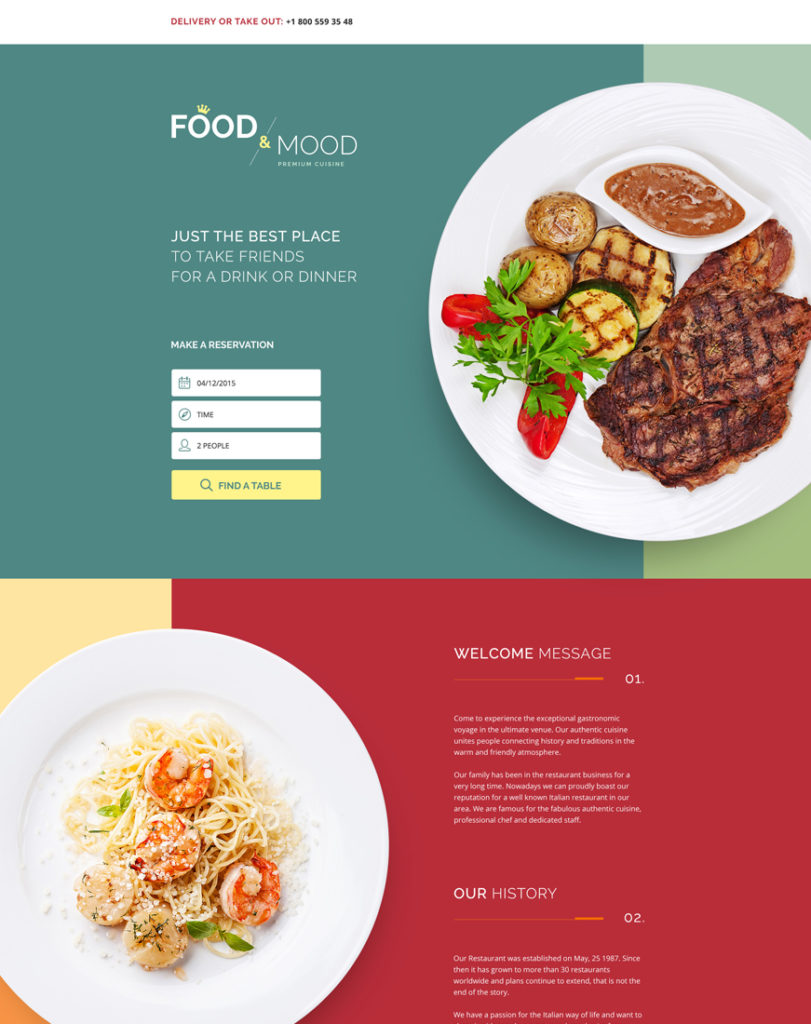 cafe-and-restaurant Landing Page Template