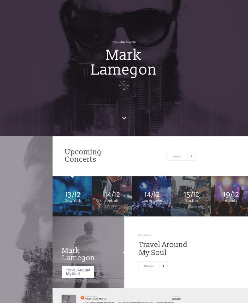 singer Landing Page Template