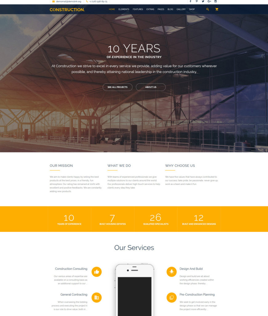 Construction - one of the best multipurpose website templates