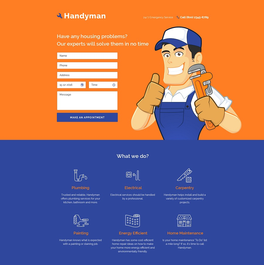 Home Repairs Responsive Landing Page Template