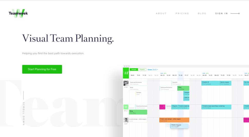 Teamweek timeline design